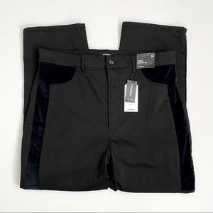 NWT Super High Waist Black Velvet Pieced Jeans
